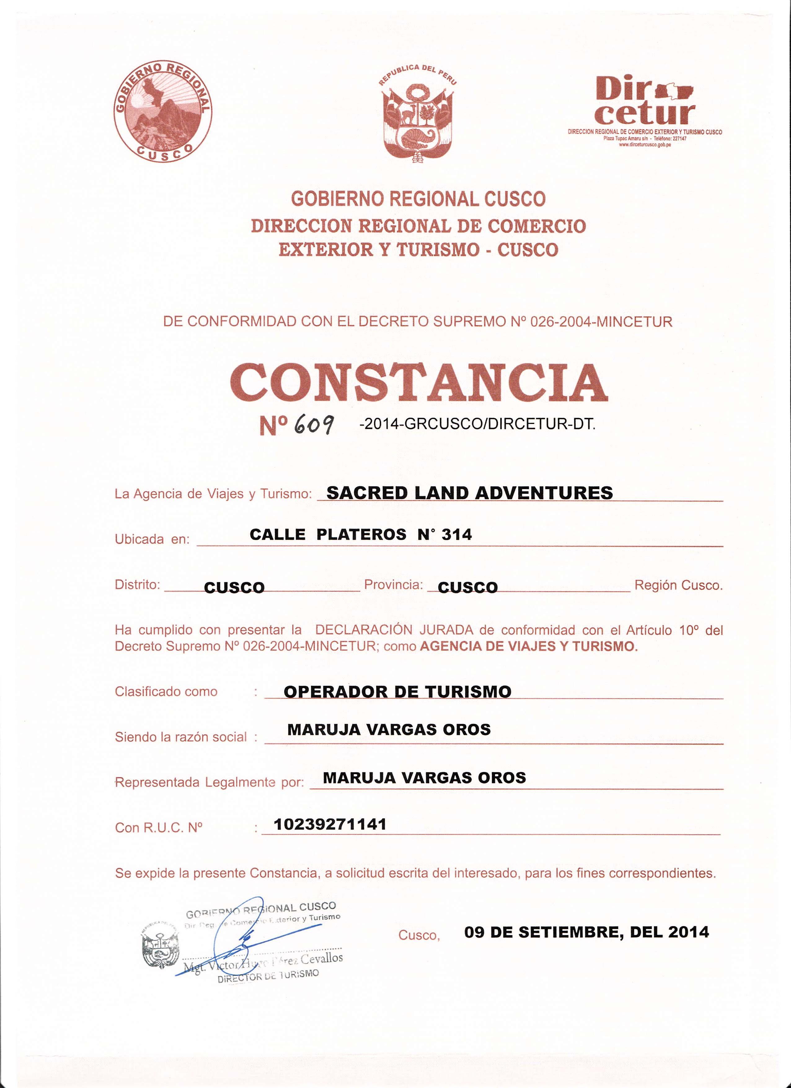 constancia de autorizacion para la agencia de viajes y turismo tours peru machu picchu