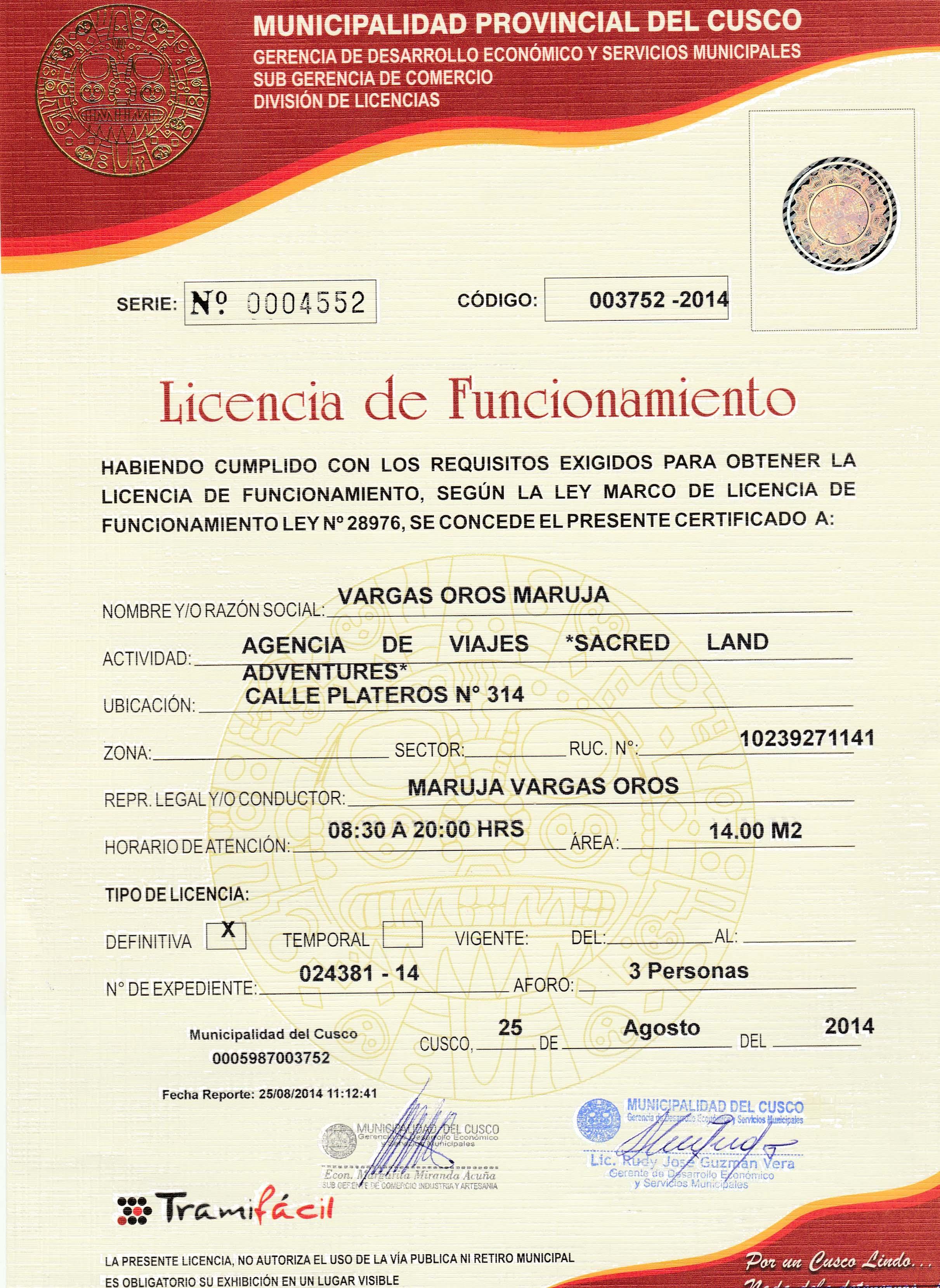 licencia de funcionamiento para tours peru machu picchu